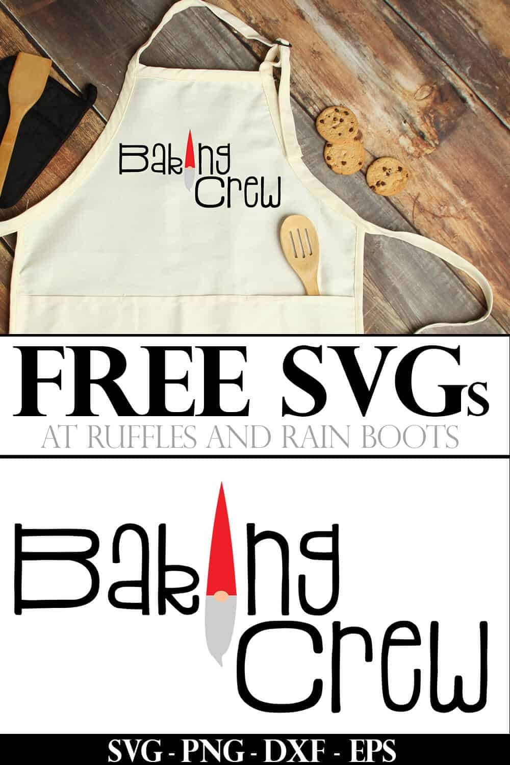 collage of baking crew svg for Christmas on an apron on a wood background with text which reads free svgs