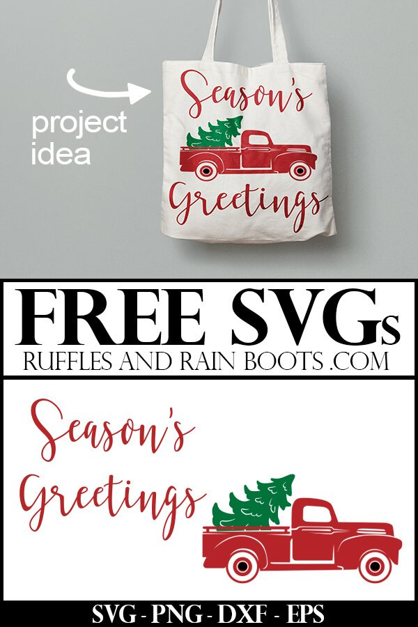 free Christmas Seasons Greetings SVG on cream tote bag with red vintage Christmas truck as a project idea with text which reads free svg