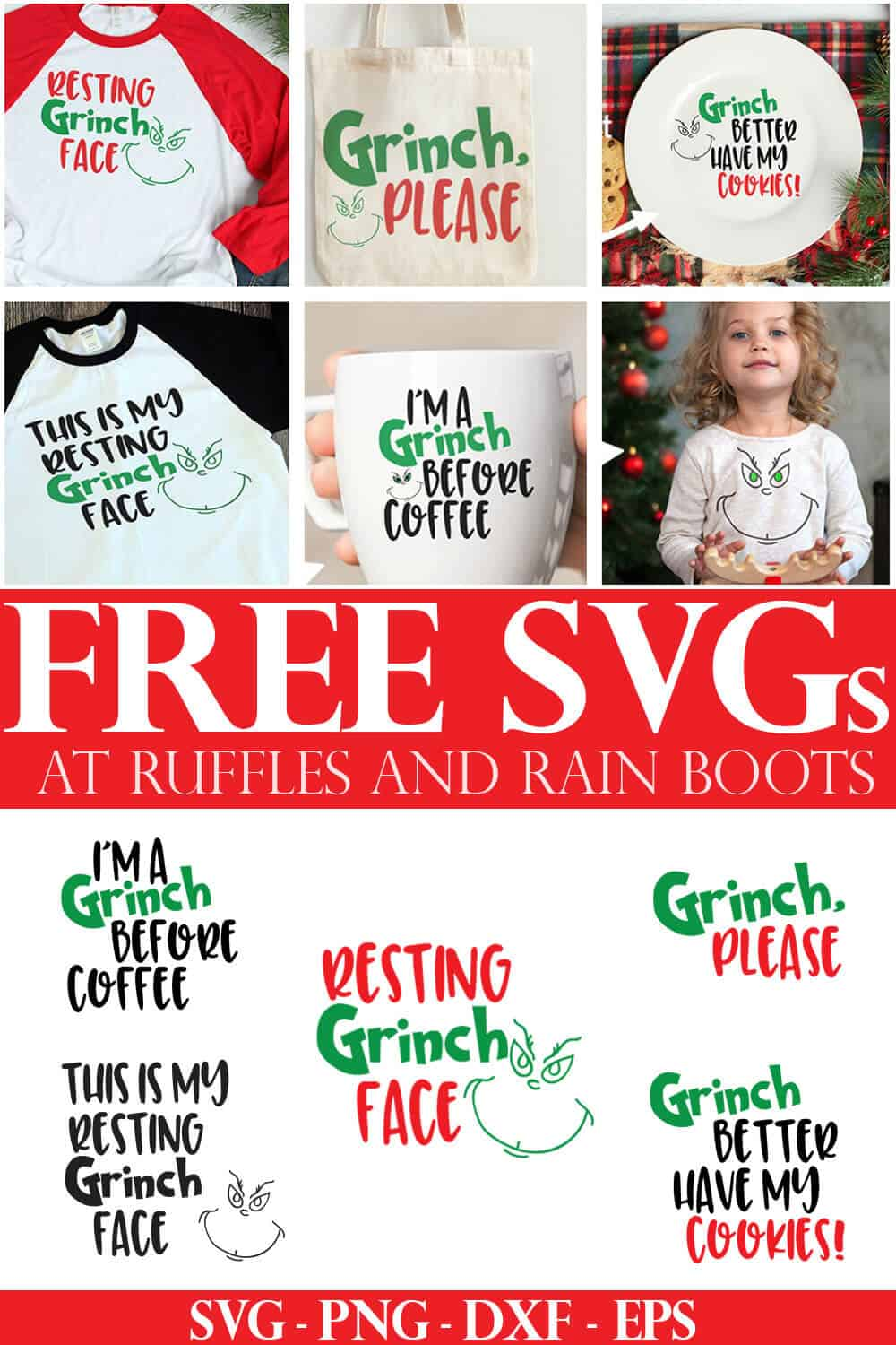 collage of free Grinch SVG cut files and 6 different holiday projects made with a Cricut or Silhouette machine