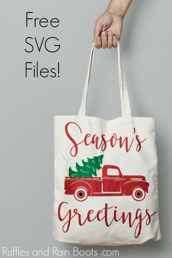 adorable Christmas tote bag project idea using a free Seasons Greetings svg and a free vintage Christmas truck cut file