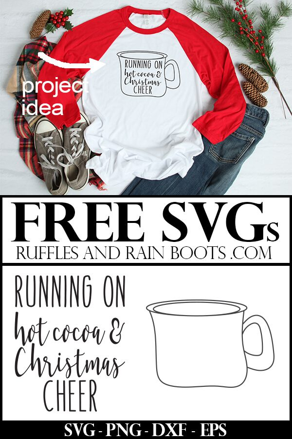 hot cocoa and Christmas cheer svg and free cocoa mug svg on red raglan t shirt on holiday background with text which reads free svg