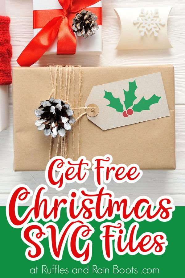 package made with a gift card using a holly svg with text which reads get free Christmas svg files