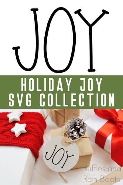 collage free joy svg put on a gift tag made with a cricut machine with text which reads holiday joy svg collection