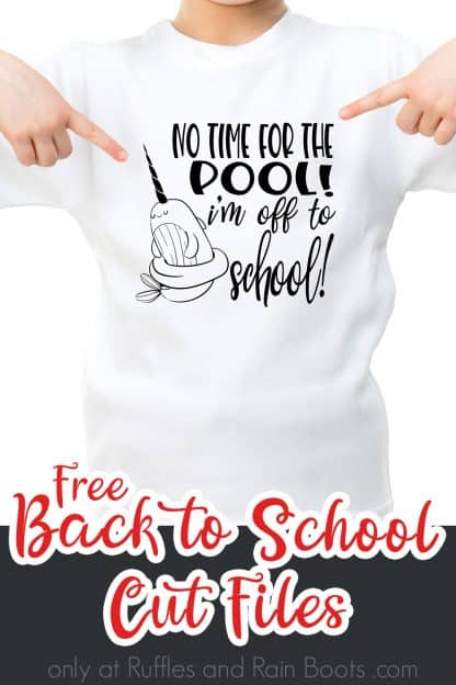 little girl in white t shirt pointing to an adorable narwhal design with text which reads free back to school cut files