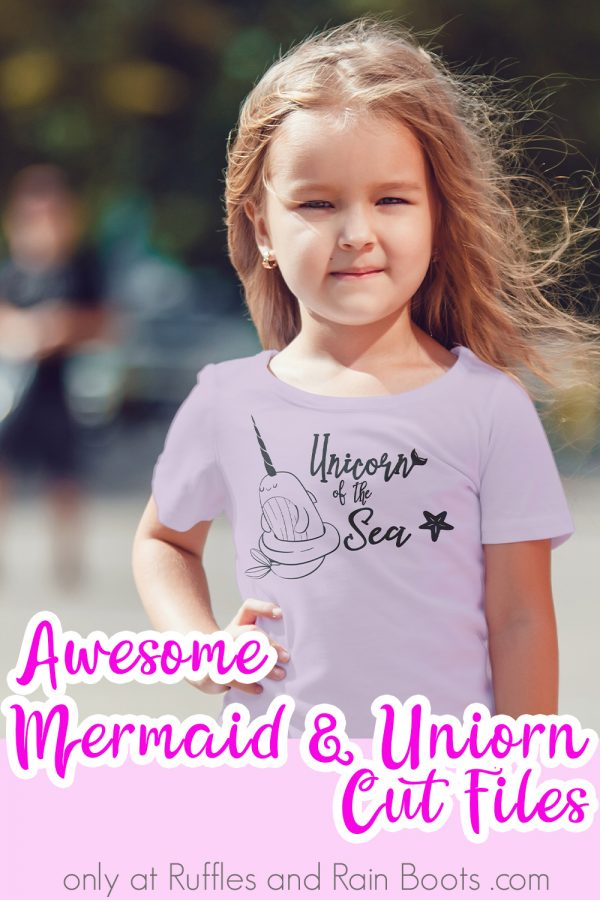 little girl in purple shirt with unicorn of the sea graphic outside with text which reads awesome mermaid and unicorn cut files