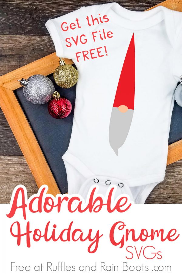 adorable Swedish gnome svg placed onto a white onesie styled on a dark wood background with Christmas decorations and text which reads adorable holiday gnome