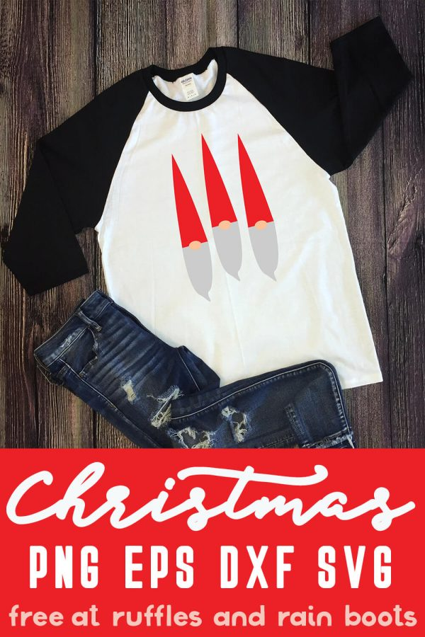 trio of gnome svg files on white and black raglan t shirt for the holidays on dark wood background with text which reads christmas PNG EPS DXF SVG