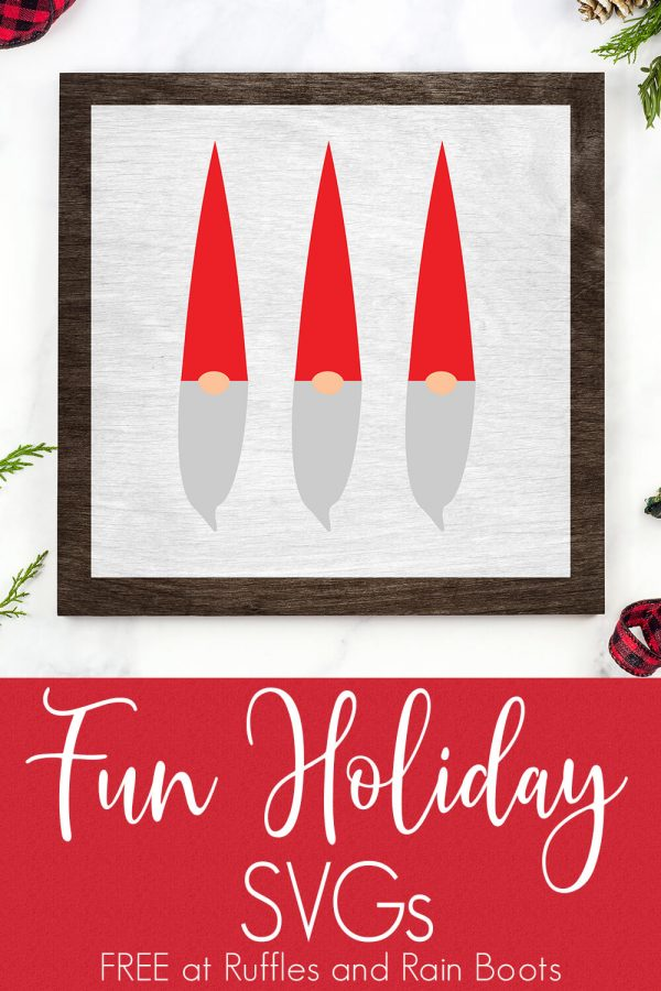 three gnome svg on wood sign for Christmas on white background with text which reads fun holiday svgs