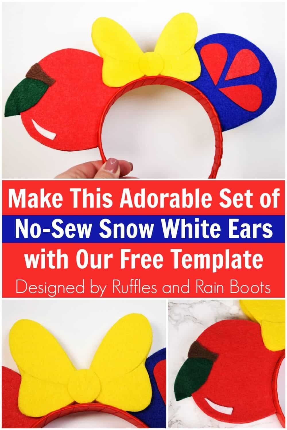 collage of Snow White SVG for Minnie ears made with Cricut with text which reads make this adorable set of no sew Snow White ears with our free template