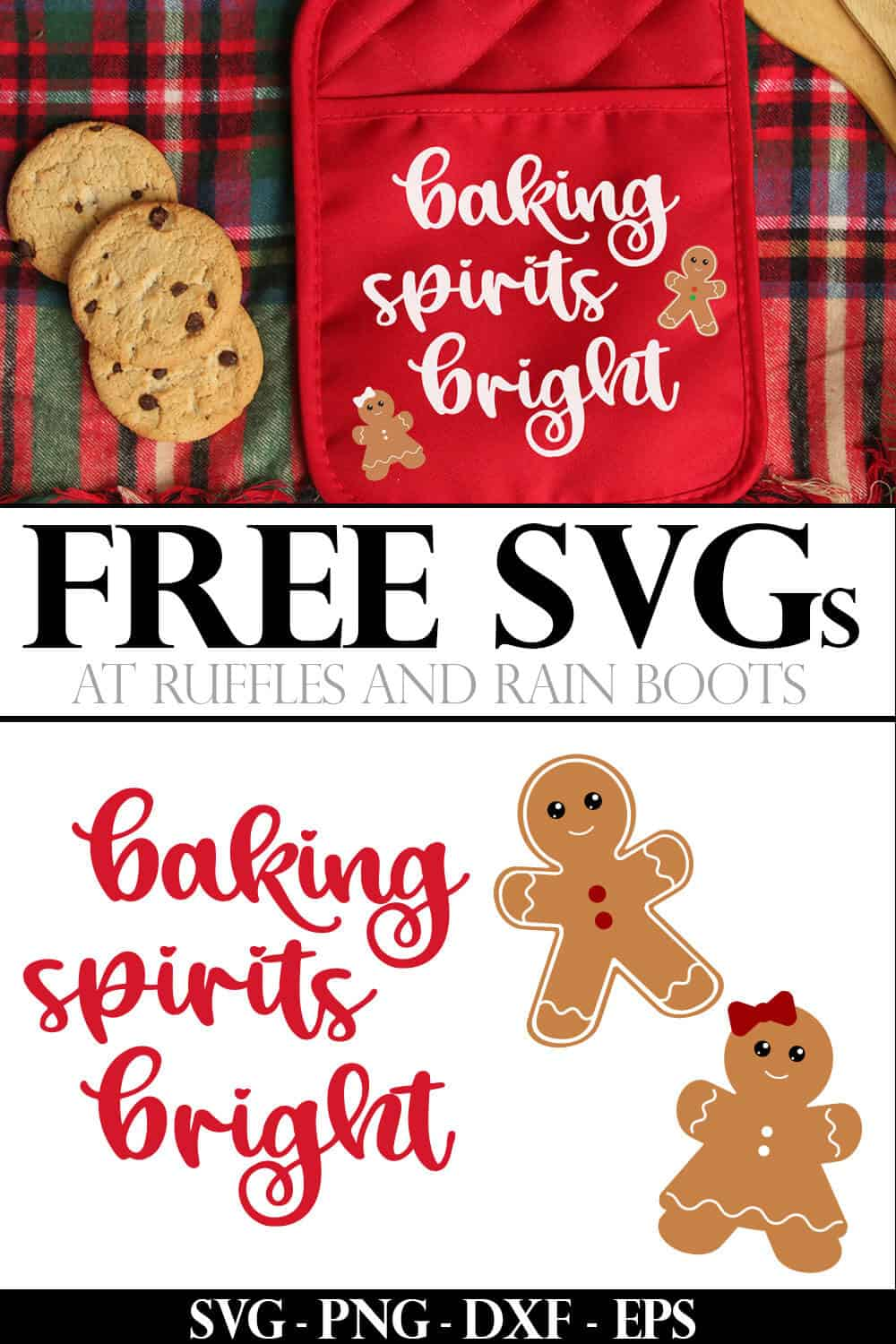 Christmas cut files baking spirits bright svg potholder made with Cricut iron on heat transfer vinyl with text which reads free svg at ruffles and rain boots
