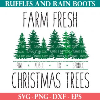 farm fresh Christmas trees svg farmhouse style Christmas cut file