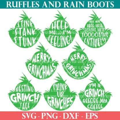 eight Grinch head SVG from Ruffles and Rain Boots