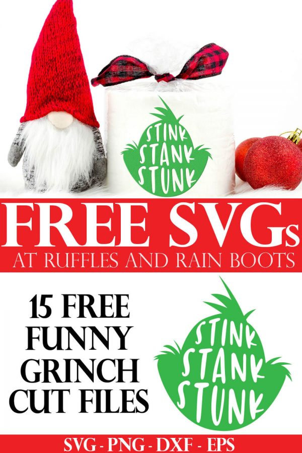 adorable gnome and toilet paper roll wrapped in stink stank stunk grinch head svg free svgs for cricut at ruffles and rain boots