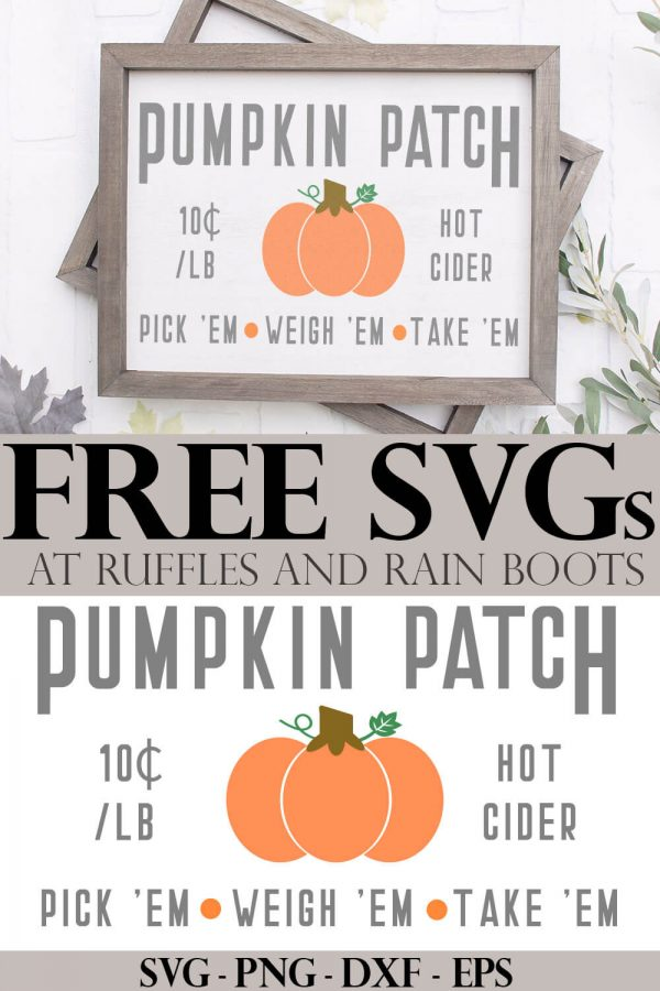 free pumpkin patch svg for signs and fall decor on a reverse canvas for Cricut with text which reads free SVG at Ruffles and Rain Boots