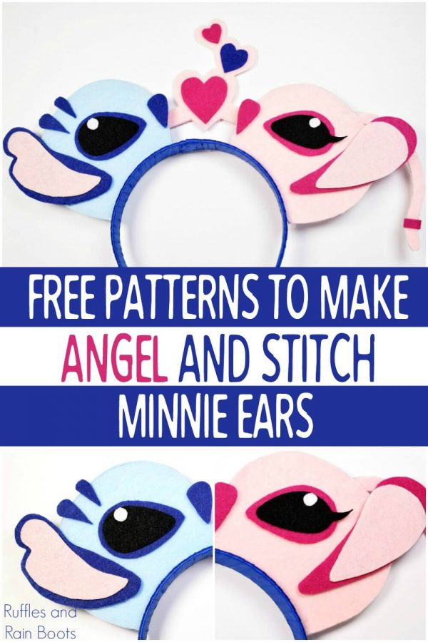 collage and close up of Angel and Stitch SVG no sew Mickey ears with text which reads free patterns to make angel and stitch minnie ears