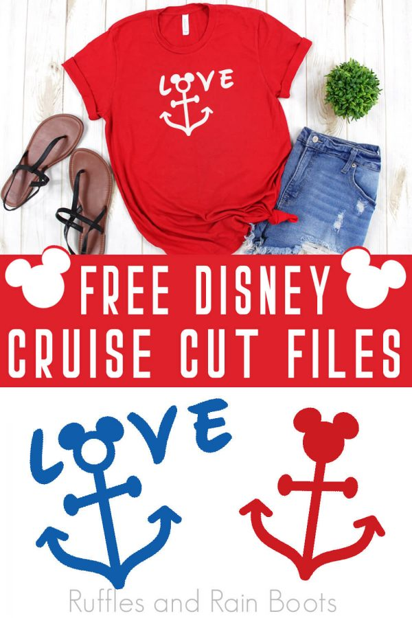 red t-shirt with nautical feel made with Disney cruise svg with text which reads free Disney cruise cut files from Ruffles and Rain Boots