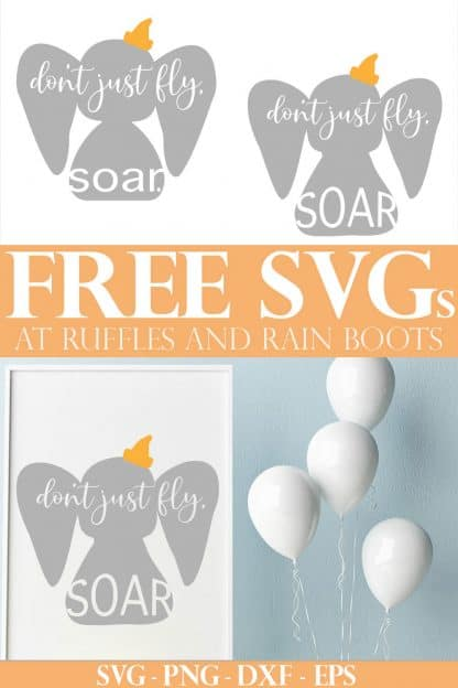 adorable Dumbo SVG placed into white frame on easel next to porcelain balloons with text which reads free SVG for Cricut