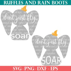 two Disney SVG Dumbo SVG on white back ground with text which reads at Ruffles and Rain Boots