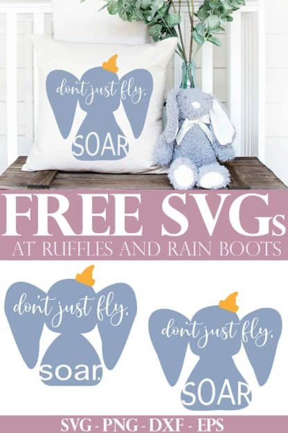 adorable Disney nursery pillow made with free Dumbo SVG with soar quote sitting on trunk with stuffed rabbit and text which reads free SVG at Ruffles and Rain Boots