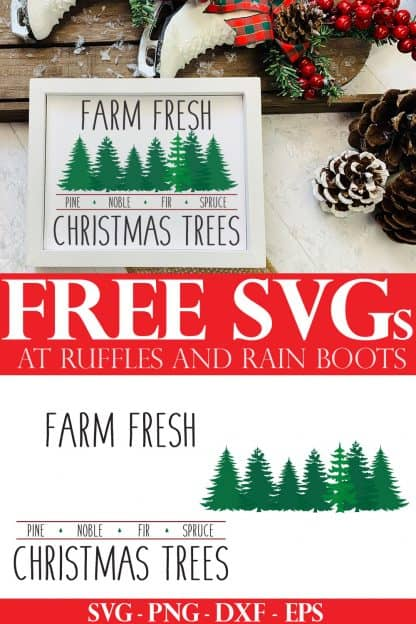 farm fresh Christmas tree SVG for farmhouse sign on holiday background with text which reads free svgs