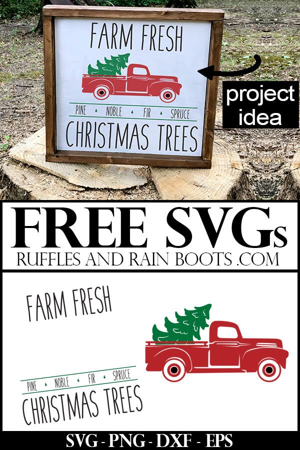 cute farmhouse sign with farm fresh Christmas tree svg on wood sign on stump with text which reads free svgs from ruffles and rain boots