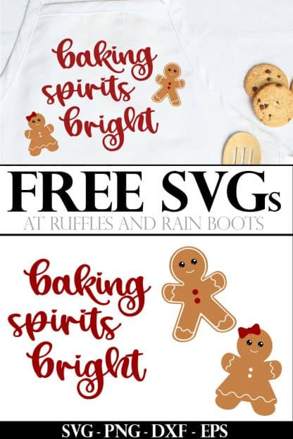 gingerbread svg for boy and girl cut files on apron with spoon and cookies and text which reads free SVG for Cricut