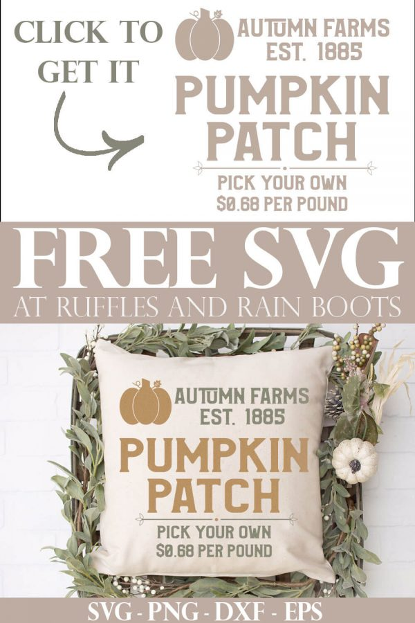 adorable fall pillow with free square pumpkin patch SVG with text which reads click to get free svgs from ruffles and rain boots
