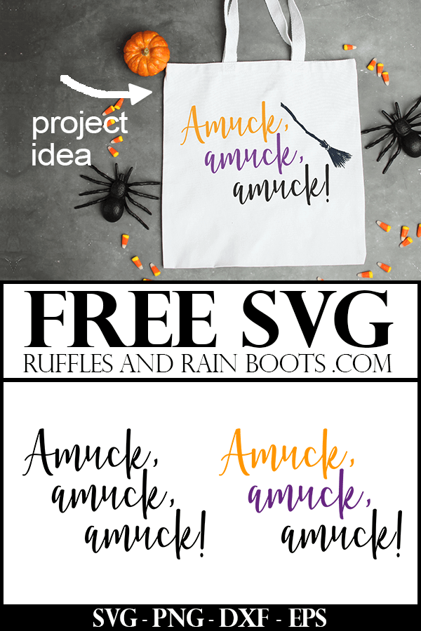 amuck svg for hocus pocus fans on white totebag on Halloween background with text which reads free svgs