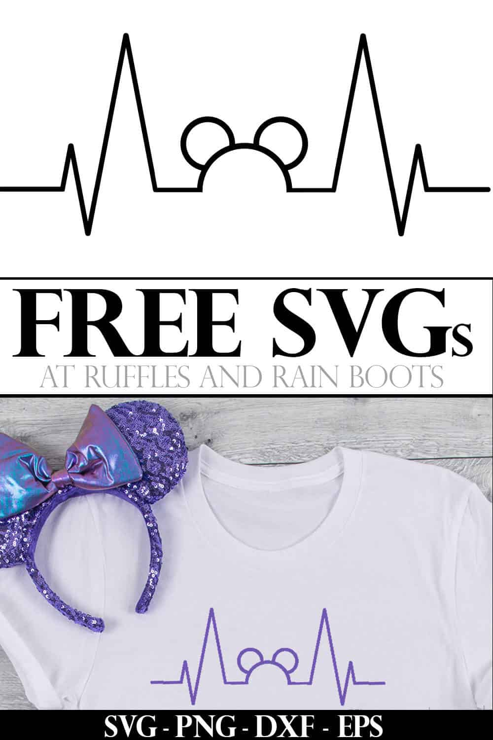 Disney Mickey heartbeat SVG in purple on white shirt with purple passion Minnie ears on wood background with text which reads free svgs at ruffles and rain boots
