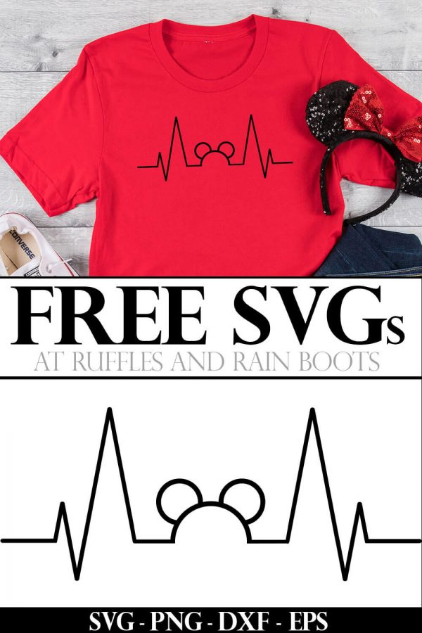 mickey mouse heartbeat svg on red shirt and minnie ears with text which reads free svg on wood background
