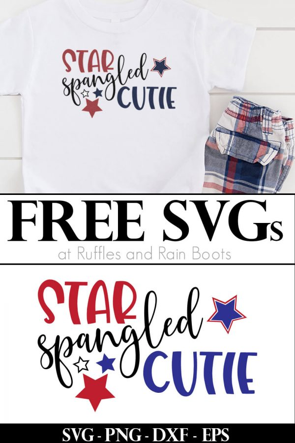 toddler 4th of July shirt with star spangled cutie svg on it with plaid shorts on white background with text which reads free svg