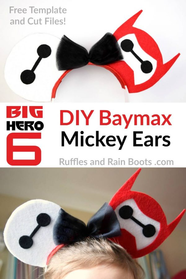 collage of child wearing Big Hero 6 Baymax SVG no sew MIckey ears with text which reads DIY Baymax Minnie Ears