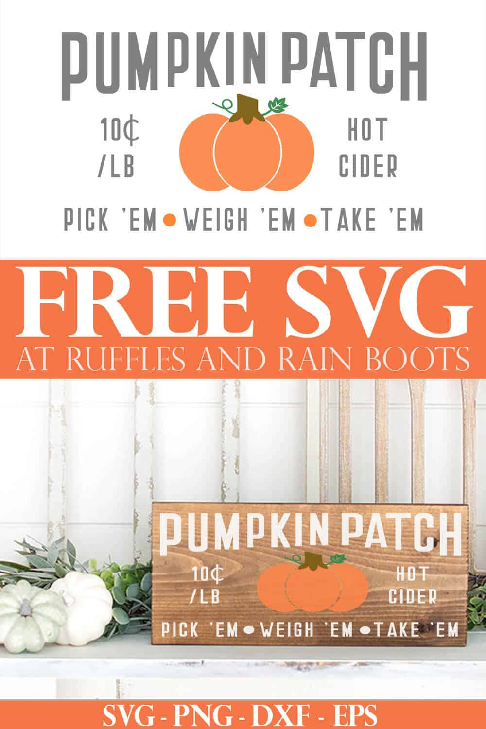 crowned pumpkin patch sign svg on wood plank on mantle with text which reads free svg at ruffles and rain boots