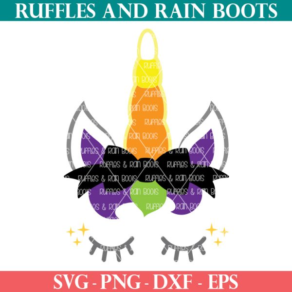 colorful Halloween candy corn unicorn svg on white background