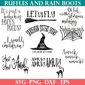 hocus pocus svg collection on ruffles and rain boots