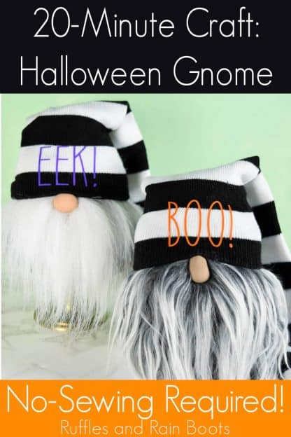 2 sock gnomes on white and green background with text which reads 20 minute craft Halloween Gnomes