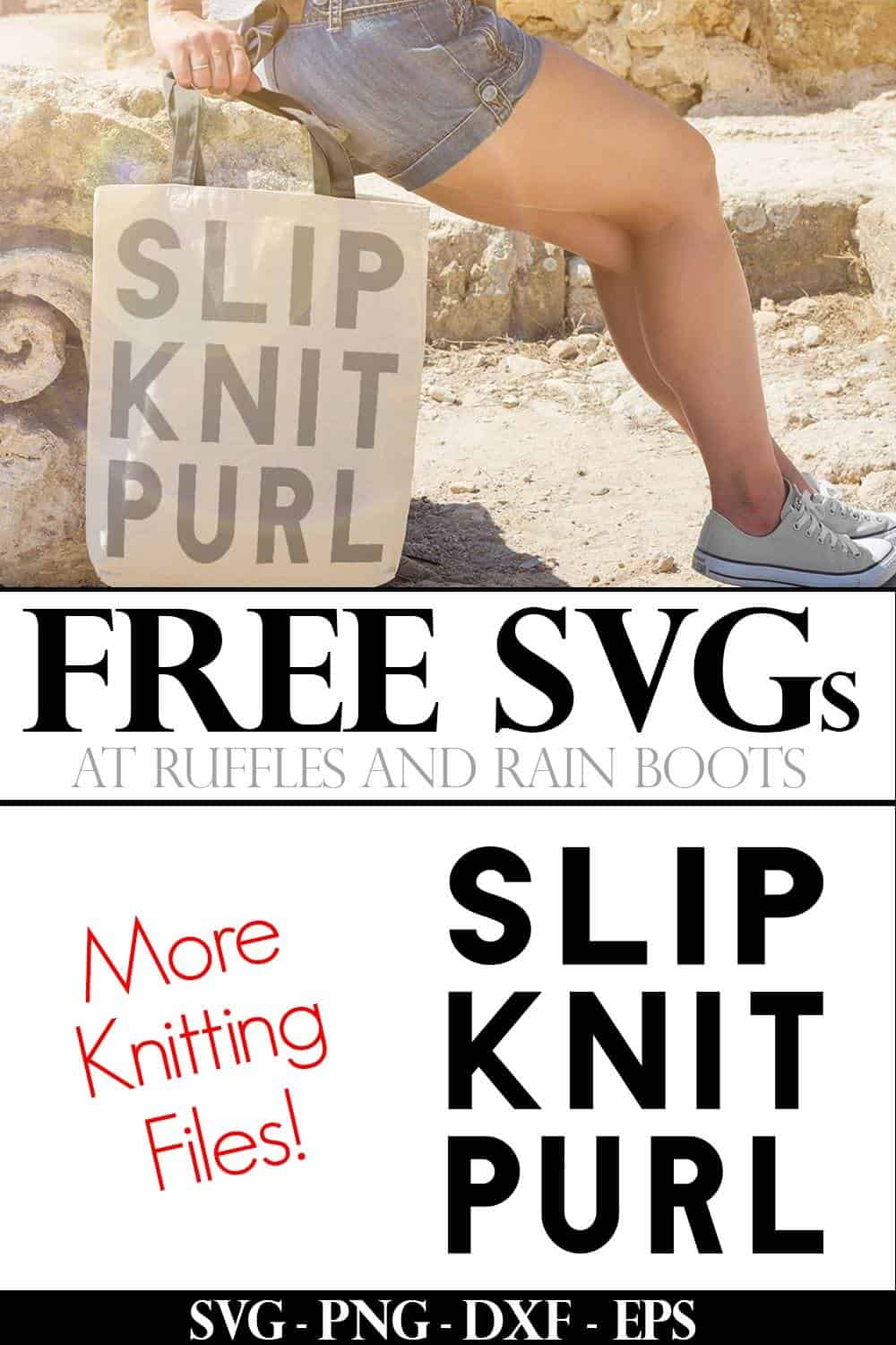 knitting svg slip knit purl in bold block font in gray on tote bag on beach with text which reads free SVG for Cricut