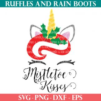 colorful Christmas unicorn SVG with mistletoe kisses and graphic on white background