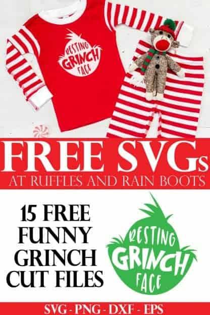 adorable Christmas pajamas using free Grinch head SVG