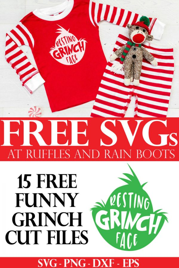 adorable Christmas pajamas using free Grinch head SVG