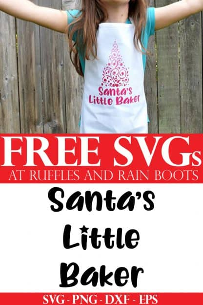 free Santa's little baker svg on child's apron from Ruffles and Rain Boots