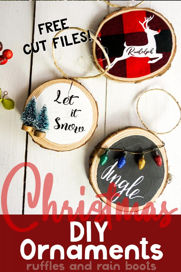 three Christmas ornaments on white wood background with Christmas elements with text which reads DIY Christmas ornaments with Cricut