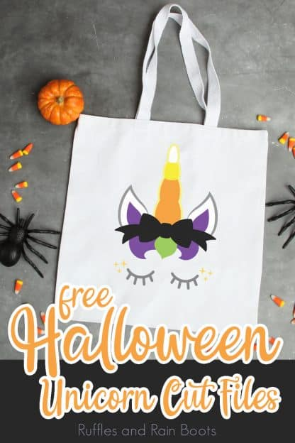 adorable trick or treat bag for kids made with a Halloween unicorn svg with a candy corn horn and text which reads free svg
