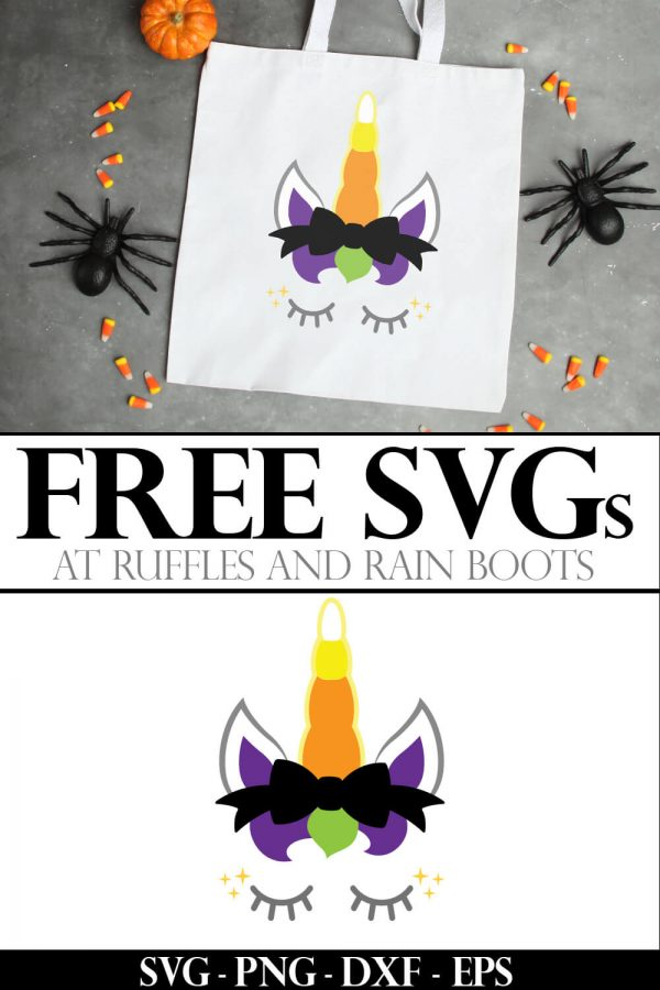 collage of trick or treat bag for kids made with a Halloween unicorn cut file with a candy corn horn and text which reads free svg