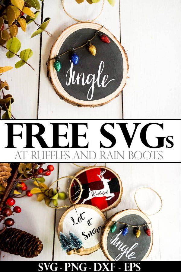collage of Christmas ornaments made with Cricut and Jingle SVG with text which reads free svg at ruffles and rain boots