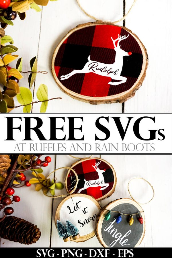 adorable buffalo check reindeer ornament with Rudolph cutout with text which reads free svg from ruffles and rain boots