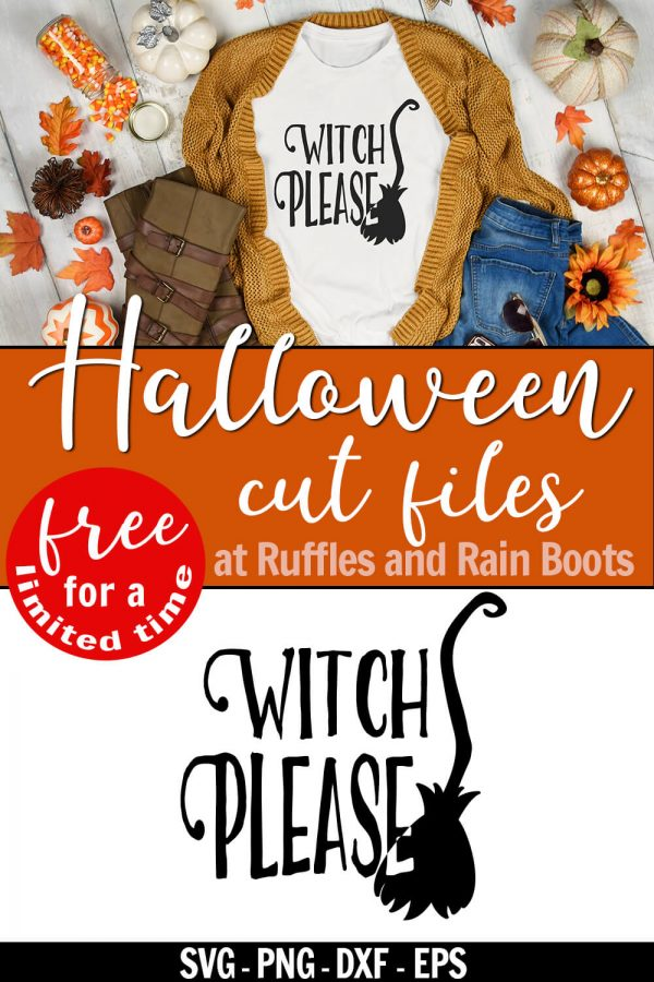 adorable Halloween Cricut project t-shirt made with free witch please svg with text which reads Halloween cut files at Ruffles and Rain Boots