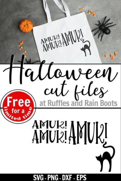 amuk amuk amuk svg with black cate on white tote bag with text which reads Halloween cut files free for a limited time
