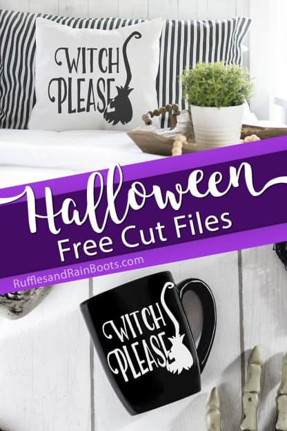 Halloween Cricut project ideas pillow and mug made with free witch please svg with broom with text which reads Halloween cut files