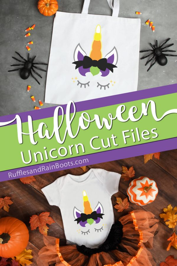 Halloween unicorn svg on trick-or-treat bag and onesie with text which reads Halloween unicorn cut files